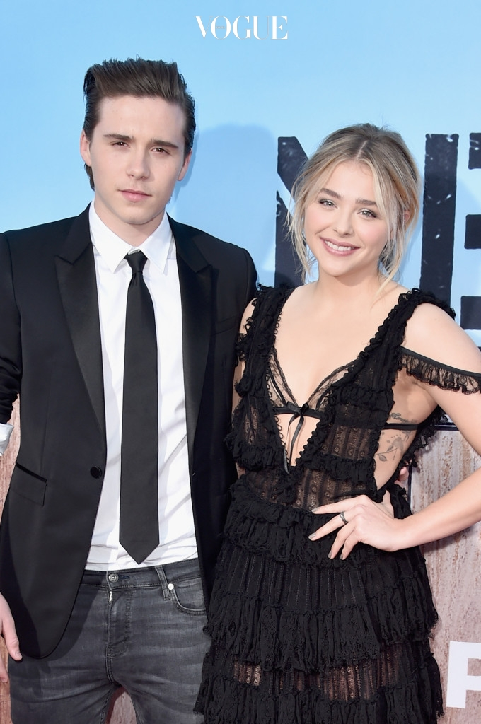 """WESTWOOD, CA - MAY 16:  Brooklyn Beckham (L) and actress Chloe Grace Moretz attend the premiere of Universal Pictures' """"Neighbors 2: Sorority Rising"""" at the Regency Village Theatre on May 16, 2016 in Westwood, California.  (Photo by Alberto E. Rodriguez/Getty Images)"""