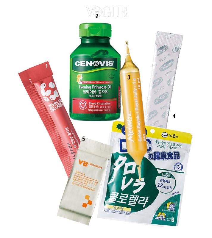1 콜라겐 합성을 도와 피부를 건강하고 탱탱하게 가꿔준다. 이니스프리의 '제주 발효콩이 담긴 더 맛있는 콜라겐'. 가격 1만원(7포). 2 혈액 순환을 원활하게 하고 면역 과민 반응에 의한 피부 상태를 개선해준다. 세노비스의 '달맞이꽃 종자유'. 가격 3만5천원(90캡슐). 3 환절기 피부 면역력 증가를 도와준다. 멜비타의 '로얄 젤리 서플먼트'. 가격 5만5천원(20개). 4 손상된 피부 세포를 재생시키고 탄력을 더해준다. 미키모토 코스메틱의 '파인업 콜라겐'. 가격 8만5천원(45포). 5 유산균 캡슐이 장내 면역력 증진과 소화 기능 개선, 피부 장벽 강화를 돕는다. VB 프로그램의 '프로바이오'. 가격 6만5천원(60캡슐). 6 항산화 작용을 통해 피부를 건강하게 지켜준다. DHC의 '클로렐라'. 가격 1만9천5백원(180정).