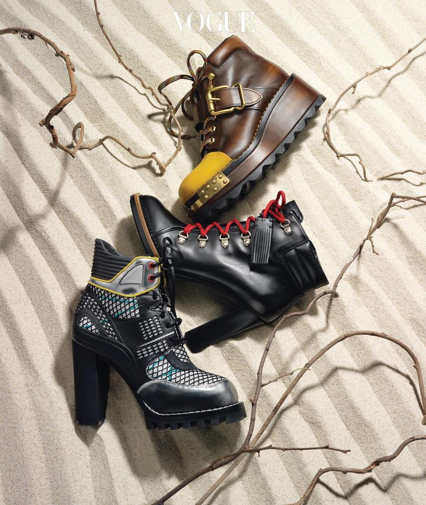 묵직한 존재감의 구두는 프라다(Prada), 빨간색 끈이 달린 구두는 토즈(Tod's), 발목 부분을 폭신하게 감싸는 그물 장식 구두는 루이 비통(Louis Vuitton),