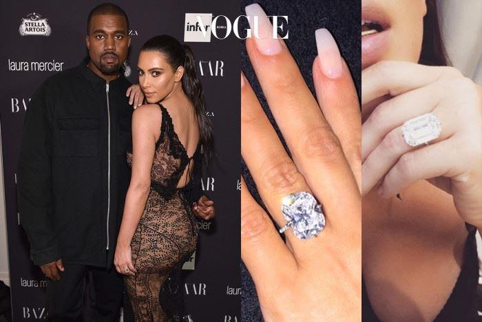 킴 카다시안 칸예 웨스트 $10,000,000 (약 110억) 왼쪽은 칸예 웨스트(Kanye West)가 청혼할 당시, 야구장 하나를 통째로 빌려 선물한 로레인 슈와츠 15캐럿,  $8,000,000짜리 청혼 반지. 오른쪽은 딸 노스 웨스트(North West)탄생을 기념하며 선물한 20캐럿 $2,000,000 짜리  다이아몬드인데, 파리에서 도난 맞은 슬픈 사건의 주인공이다.