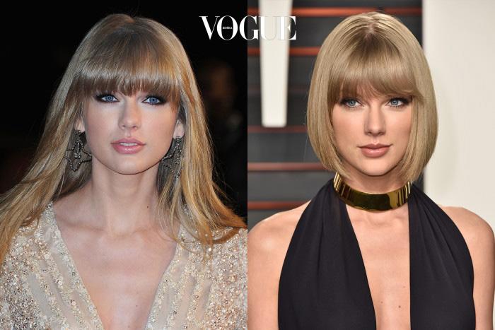테일러 스위프트(Taylor Swift)왼쪽은 흔하디 흔한 아이돌의 느낌이라면, 머리를 자르고 나니 세련미가 물씬 풍기는 팝스타 느낌!