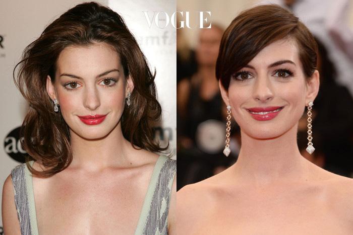 앤 해서웨이(Anne Hathaway) 이건 마치 언니와 동생의 사진을 보는 듯, 머리만 잘랐는데도 5살은 어려보이는 효과!