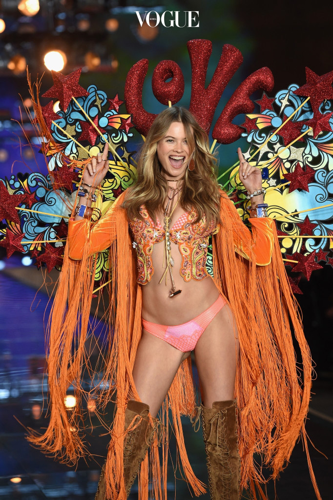 NEW YORK, NY - NOVEMBER 10:  Model and Victoria's Secret Angel Behati Prinsloo from Namibia walks the runway during the 2015 Victoria's Secret Fashion Show at Lexington Avenue Armory on November 10, 2015 in New York City.  (Photo by Dimitrios Kambouris/Getty Images for Victoria's Secret)