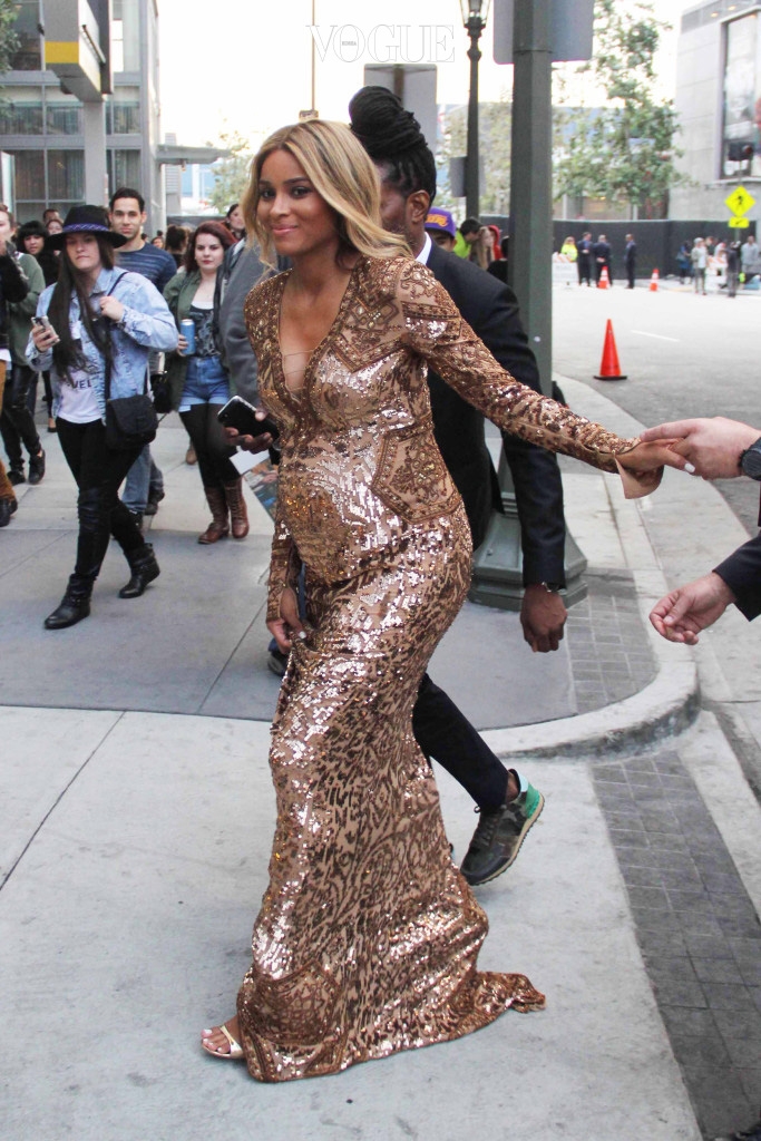 UK CLIENTS MUST CREDIT: AKM-GSI ONLY A glowing Ciara arrives at the Staples Center in Los Angeles to attend the 56th Annual Grammy Awards. Pictured: Ciara Ref: SPL688345  260114   Picture by: AKM-GSI / Splash News Splash News and Pictures Los Angeles: 310-821-2666 New York: 212-619-2666 London: 870-934-2666 photodesk@splashnews.com