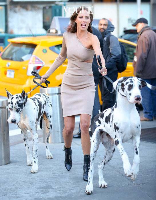 Christy Turlington spotted doing a photoshoot with two big dogs around Central Park in New York City, the model lost control while trying to walk with the two huge dogs while doing the photoshoot Pictured: Christy Turlington Ref: SPL1254018  290316   Picture by: Felipe Ramales / Splash News Splash News and Pictures Los Angeles:310-821-2666 New York:212-619-2666 London:870-934-2666 photodesk@splashnews.com