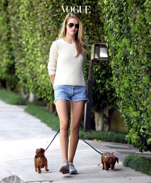 EXCLUSIVE: April 19, 2014: Model Rosie Huntington Whiteley shows off a less than flawless complexion and sports some denim hot pants as she takes a morning walk in the Hollywood Hills with het pet Daschunds Dolly and Peggy.  **NO DAILY MAIL ONLINE** Pictured: Rosie Huntington Whiteley Ref: SPL731982  200414   EXCLUSIVE Picture by: MOVI Inc. / Splash News Splash News and Pictures Los Angeles:310-821-2666 New York:212-619-2666 London:870-934-2666 photodesk@splashnews.com