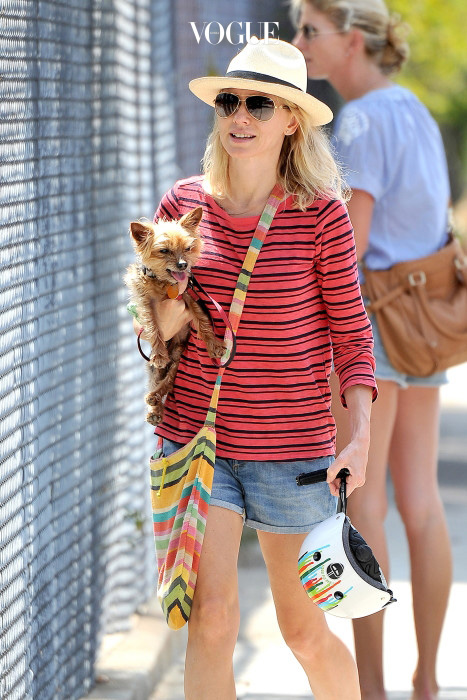 UK CLIENTS MUST CREDIT: AKM-GSI ONLY Brentwood, CA - Part 2 - Naomi Watts and Liev Schreiber take their sons Samuel and Alexander to the farmer's market in Brentwood to enjoy riding their scooters and the pony ride.  The mother of two took care of their family pup while Liev watch the kids. Pictured: Naomi Watts Ref: SPL767153  250514   Picture by: AKM-GSI / Splash News Splash News and Pictures Los Angeles: 310-821-2666 New York: 212-619-2666 London: 870-934-2666 photodesk@splashnews.com