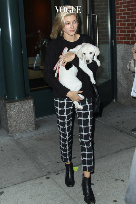 Hailey Baldwin is seen in SoHo with a cute puppy on October 23, 2014 in New York City. (Photo by Jeffery Duran) Pictured: Hailey Baldwin Ref: SPL873100  241014   Picture by: Jeffery Duran / Splash News Splash News and Pictures Los Angeles:310-821-2666 New York:212-619-2666 London:870-934-2666 photodesk@splashnews.com