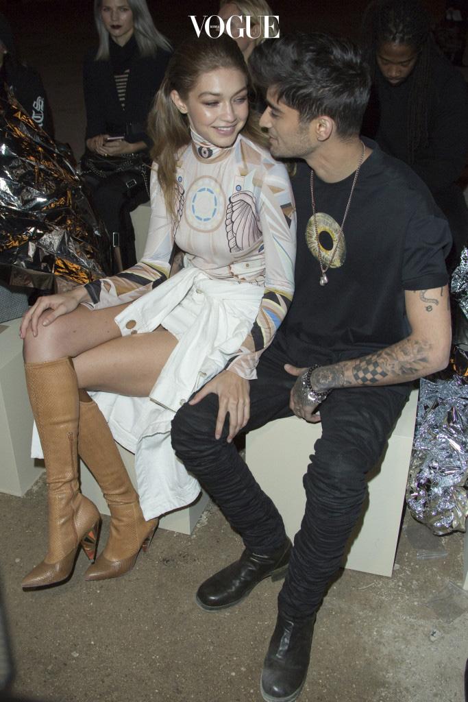 Givenchy show during the Paris Fashion Week Womenswear Spring/Summer 2017. Pictured: Zayn Malik and Gigi Hadid Ref: SPL1366988  021016   Picture by: KCS Presse / Splash News Splash News and Pictures Los Angeles:310-821-2666 New York:212-619-2666 London: 870-934-2666 photodesk@splashnews.com