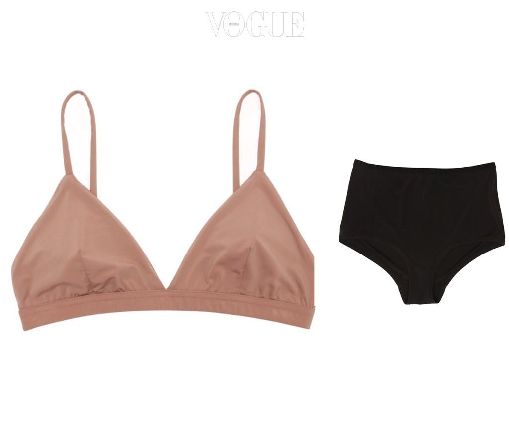 가슴을 완전히 덮는 브라와 하이웨이스트 브리프는 속옷차림의 50년대 여배우가 떠오른다. 수퍼 소프트 브라 + 수퍼 소프트 하이웨이스트 브리프, 랜드 오브 우먼(Land of Women).