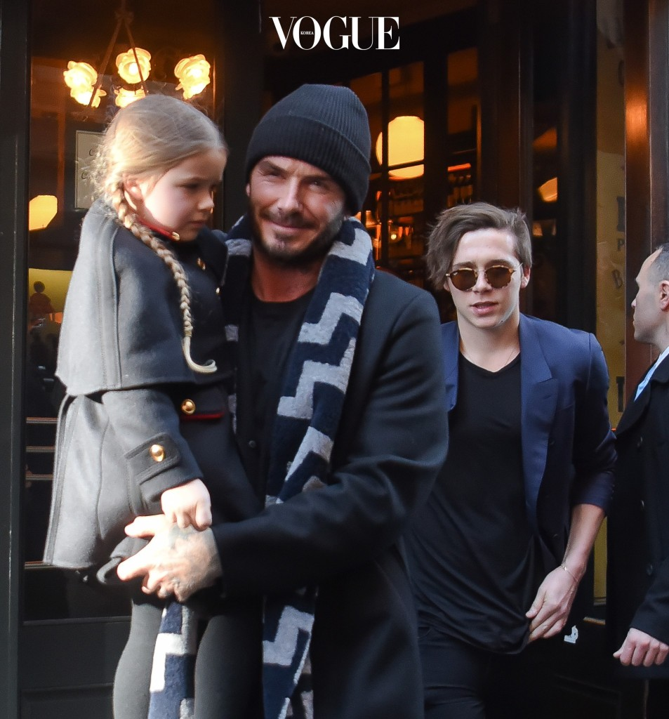 02/14/16 NYC - David Beckham leaves Balthazar Restaurant with his boys and carrying daughter Harper as Victoria leaves separately on Sunday February 14th, 2016. Non Exclusive / Luis Yllanes  /  Splash News Pictured: David Beckham, Brooklyn Joseph Beckham, Harper Seven Beckham, Romeo James Beckham, Cruz David Beckham Ref: SPL1227533  140216   Picture by: Luis Yllanes / Splash News Splash News and Pictures Los Angeles:310-821-2666 New York:212-619-2666 London:870-934-2666 photodesk@splashnews.com