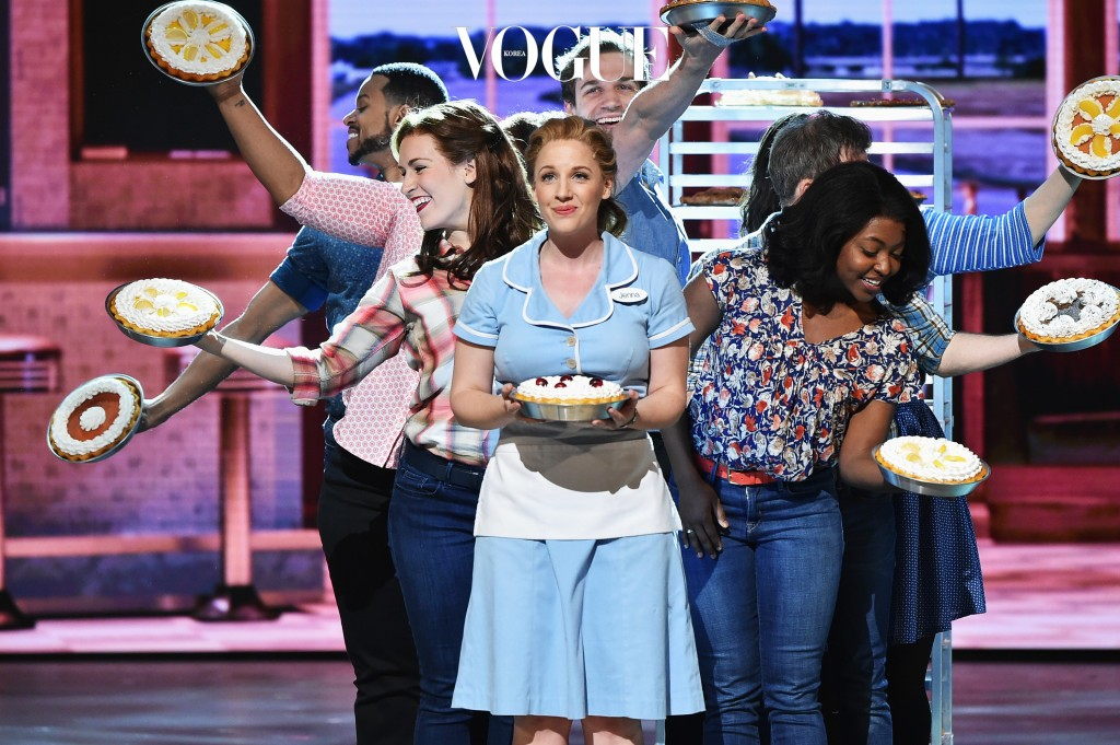 """NEW YORK, NY - JUNE 12:  Jessie Mueller and the cast of """"Waitress"""" perform onstage during the 70th Annual Tony Awards at The Beacon Theatre on June 12, 2016 in New York City.  (Photo by Theo Wargo/Getty Images for Tony Awards Productions)"""