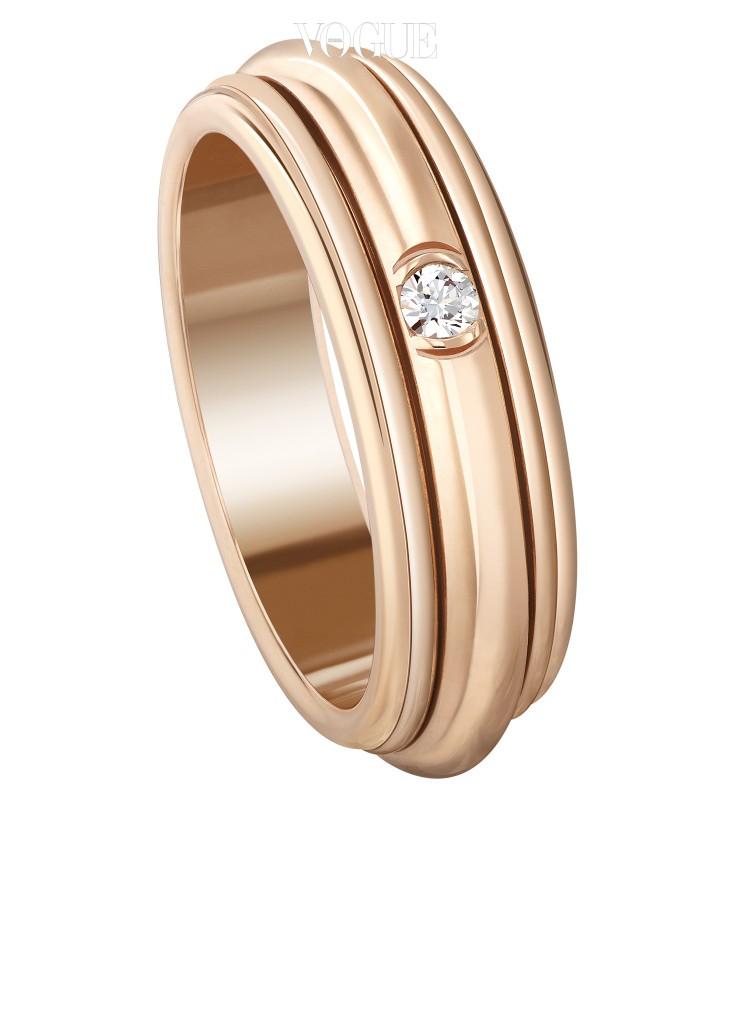 Piaget18K 핑크 골드에 브릴리언트 컷 다이아몬드 1개가 세팅된 포제션링. 300만원대