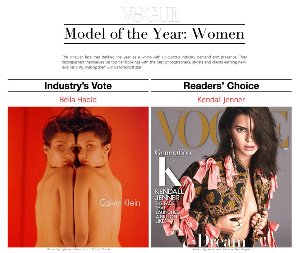 국내 지상파 프로그램에 '연기대상' '연예대상'이 있다면 모델계엔? 모델스 닷컴이 선정하는 2016년을 빛낸 모델들 시상이 있죠.  '패션 관계자들이 뽑은 올해의 모델'에 벨라 하디드가 당당히 이름을 올렸습니다.