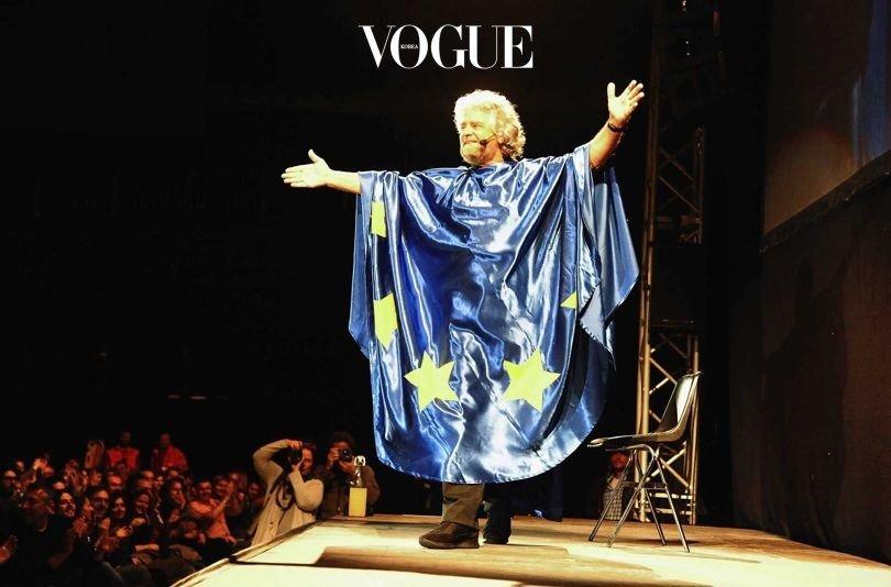 코미디언 출신  대표, 베페 그릴로(Beppe Grillo)가 2014년 볼로냐의 유니폴 아레나에서 공연하는 모습.