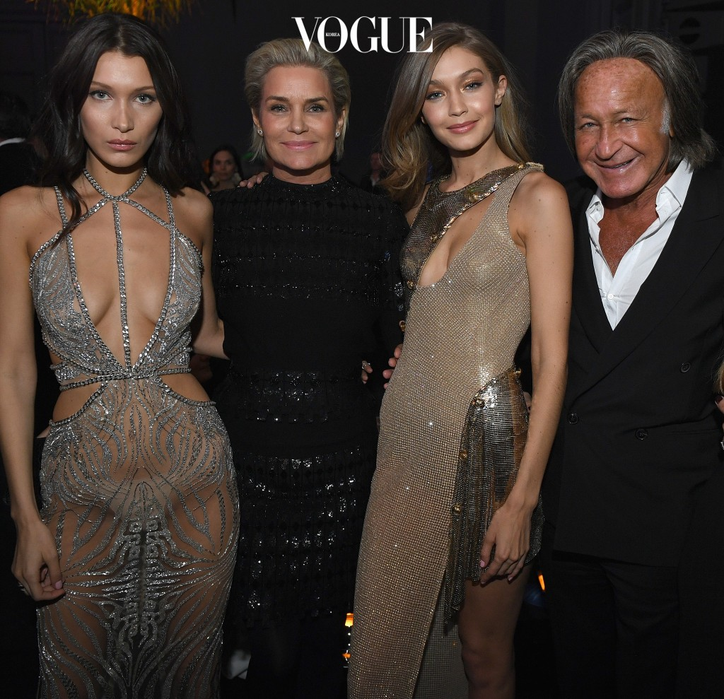 PARIS, FRANCE - NOVEMBER 30: (L-R) Bella Hadid, Yolanda Foster, Gigi Hadid and Mohamed Hadid attend the Victoria's Secret After Party at the Grand Palais on November 30, 2016 in Paris, France. (Photo by Dimitrios Kambouris/Getty Images for Victoria's Secret)