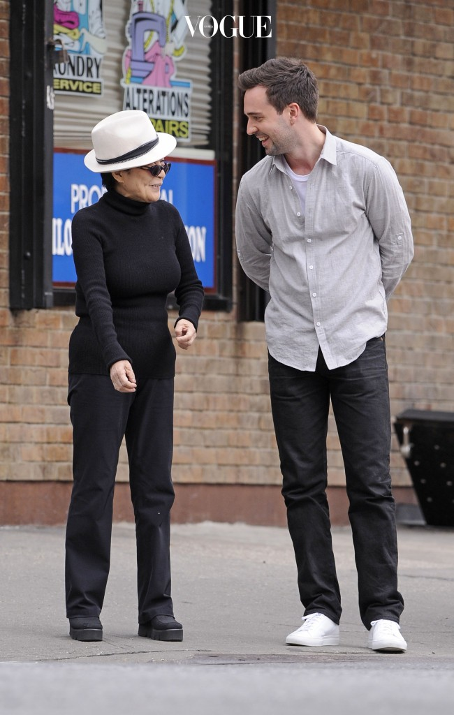 Yoko Ono walks with a male companion in Midtown, New York City. Pictured: Yoko Ono and male companion Ref: SPL391053  100512   Picture by: Splash News Splash News and Pictures Los Angeles:310-821-2666 New York:212-619-2666 London: 870-934-2666 photodesk@splashnews.com