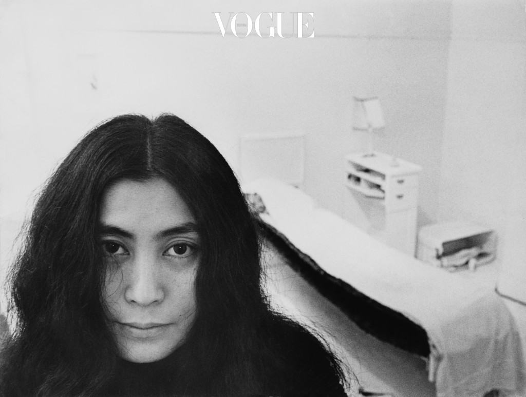 Japanese artist and musician Yoko Ono sits in a white-painted half bedroom entitled 'Half-a-Room', part of her recent avant-garde Half-a-Memory exhibition, on show at the Lisson Gallery in London, 11th July 1968. (Photo by Roger Jones/Keystone Features/Getty Images)