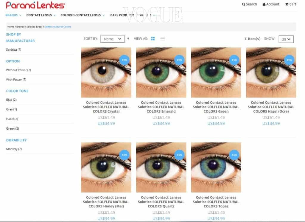 눈동자 외곽 부분이 과하게 진하지 않고 자연스러워 진짜 외국인 같은 눈동자를 연출할 수 있다는 게 장점! 단, 브라질 제품이라 공식 홈페이지에서는 직배송이 불가능하고 렌즈 쇼핑몰인 www.paranalentes.com 를 통해 구입할 수 있습니다.