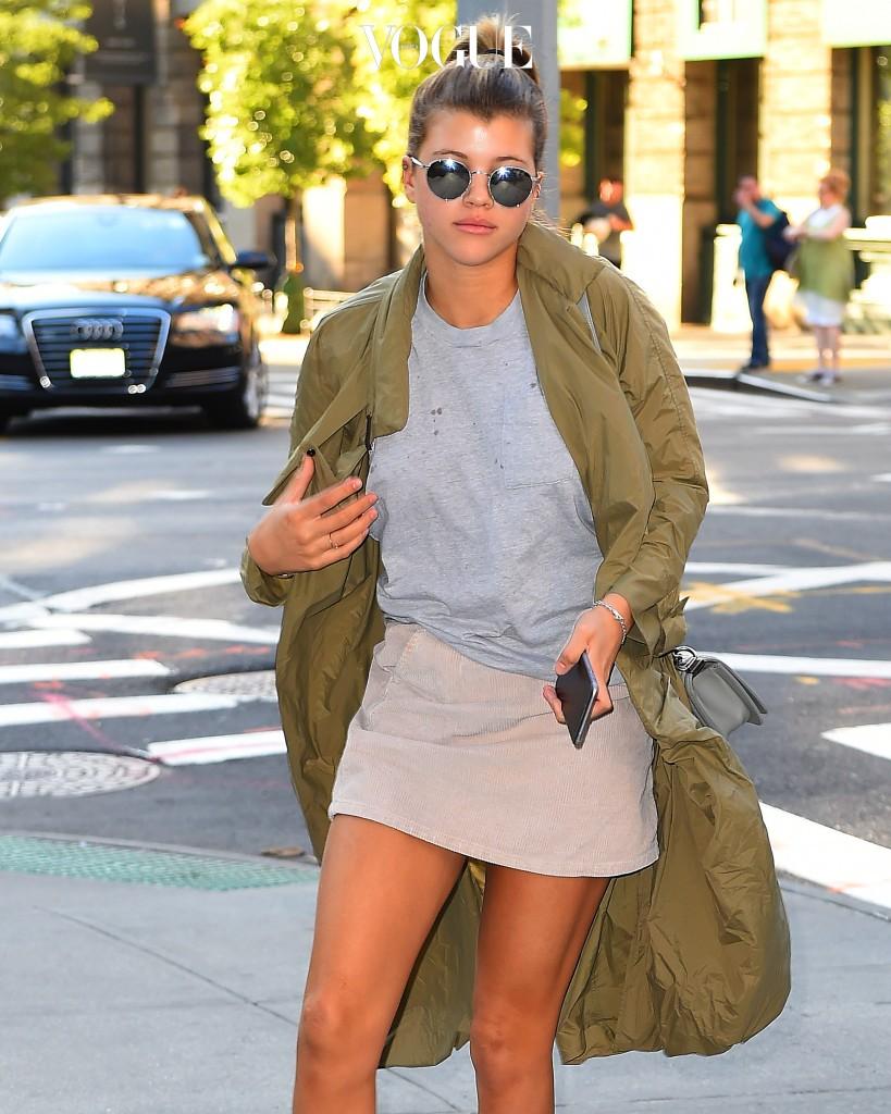 Sofia Richie wearing a green coat and pink skirt seen walking around New York City Pictured: Sofia Richie Ref: SPL1129724  170915   Picture by: RobO/Splash News Splash News and Pictures Los Angeles:310-821-2666 New York:212-619-2666 London:870-934-2666 photodesk@splashnews.com