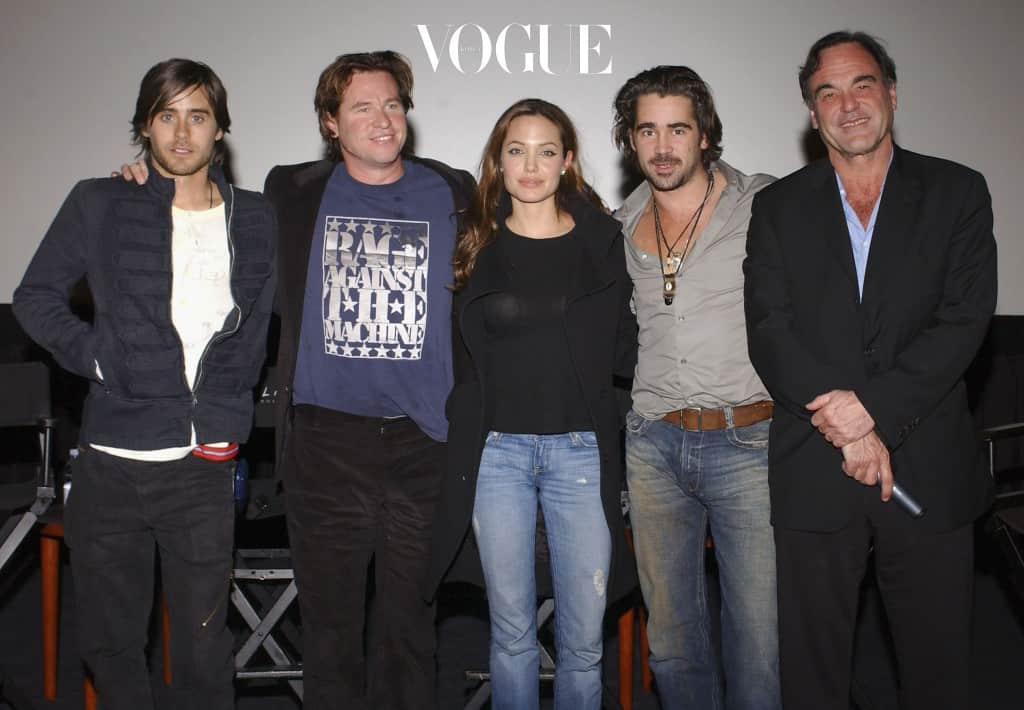 """HOLLYWOOD, CA - NOVEMBER 17:  (US TABS AND HOLLYWOOD REPORTER OUT)  (L-R) Actors Jared Leto, Val Kilmer, Angelina Jolie, Colin Farrell and Director Oliver Stone pose after the Q & A which followed the Variety Screening Series - """"Alexander"""" at the ArcLight Theater on November 17, 2004 in Hollywood, California.  (Photo by Stephen Shugerman/Getty Images)"""
