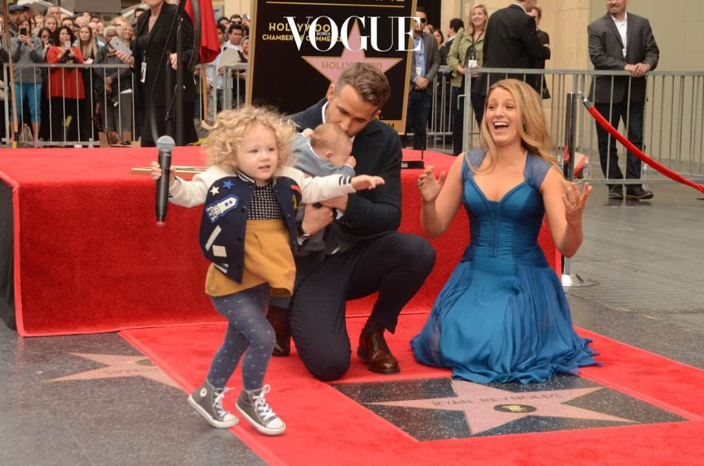 Ryan Reynolds and wife Blake Lively along side their two children make a public appearance as Ryan is honored with a star on the Hollywood Walk of Fame  Pictured: James Reynolds, Ryan Reynolds, Blake Lively Ref: SPL1411606  151216   Picture by: Splash News Splash News and Pictures Los Angeles:310-821-2666 New York:212-619-2666 London:870-934-2666 photodesk@splashnews.com