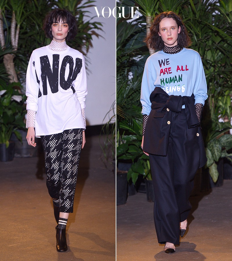 Creatures of Comfort 'We are all human being' 또는 'No!'라는 볼드한 메시지가 적혀있는 맨투맨 셔츠를 선보였던 컬렉션.