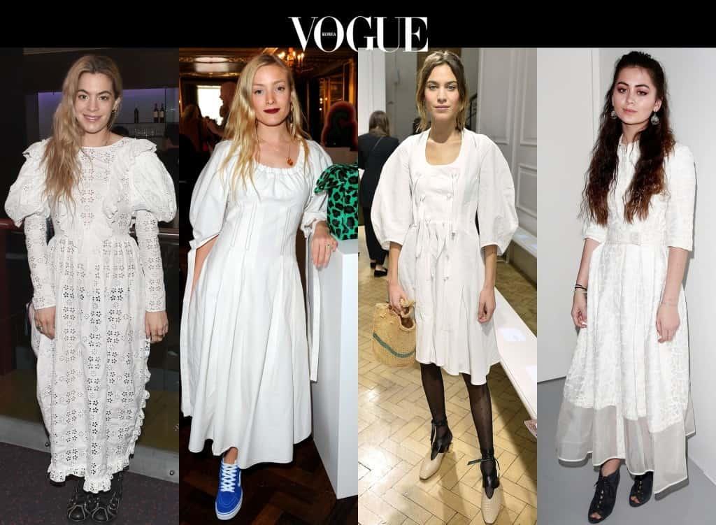 #4 페전트풍 화이트 드레스 Chelsea Leyland/ Alexa Chung/ Kate Foley/ Jasmine Thompson