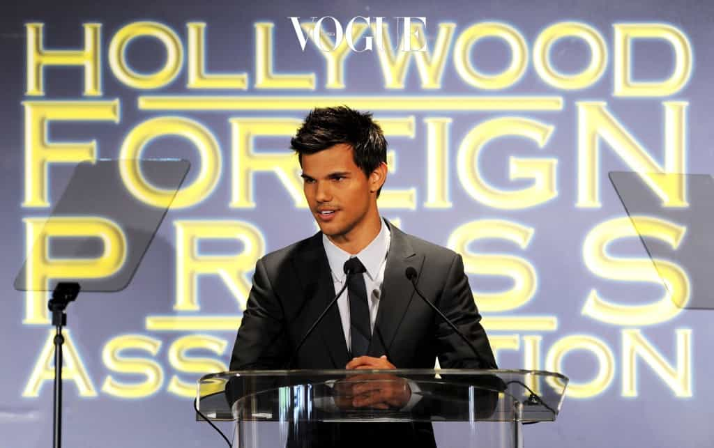 BEVERLY HILLS, CA - AUGUST 04:  Actor Taylor Lautner speaks onstage during the Presentation of Grants at the Hollywood Foreign Press Association's 2011 Installation Luncheon at Beverly Hills Hotel on August 4, 2011 in Beverly Hills, California.  (Photo by Kevin Winter/Getty Images)