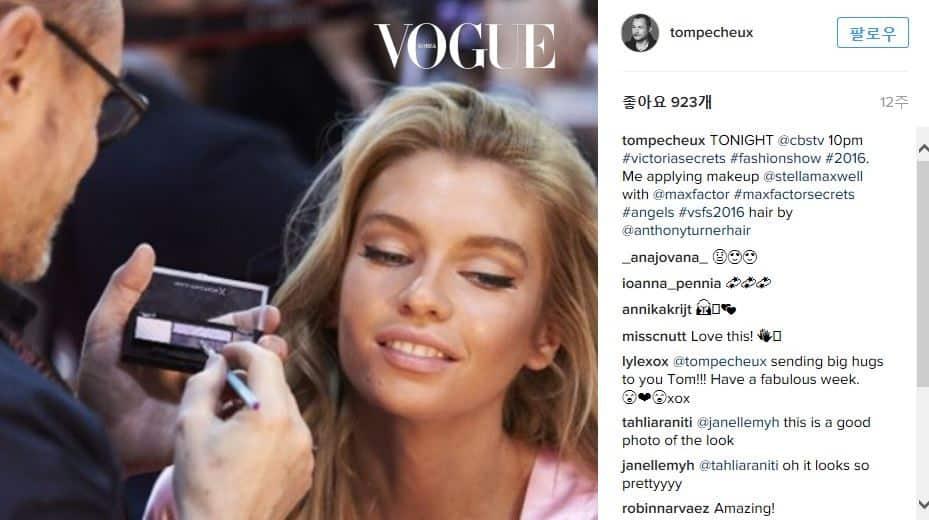 빅토리아 시크릿 쇼의 백스테이지 현장. 모델의 표정에서 만족감이 느껴지시나요? 여자의 얼굴을 어떻게 표현하면 글래머러스함이 배가 되는지 명민하게 파악할 줄 아는 톰 페슈!