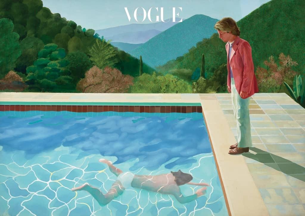 'Portrait of an Artist(Pool with Two Figures)'- 호크니의 전 연인이었던 피터 슐레진저가 물속에서 수영하는 남자를 지켜보고 있다-는 1972년 작품.