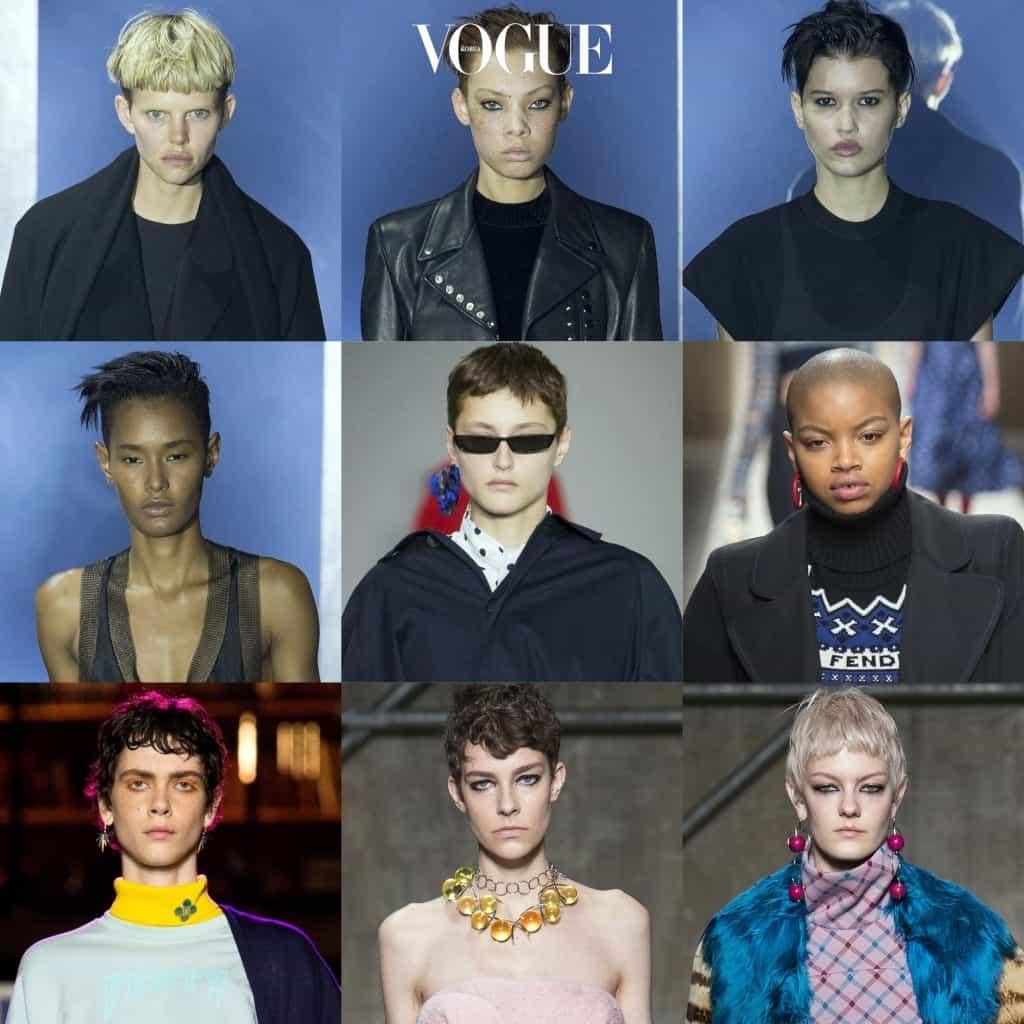 그들의 뒤를 이어 이번 시즌 런웨이에 등장한 숏컷 모델만 대략 손꼽아도 이정도 됩니다. Nina Milner/ Aleece Wilson/ Fernanda Beuker/ Ysaunny Brito/ Litay Marcus/ Slick Woods/ Amandine Renard/ Naomi van Kampen/ Sarah Fraser