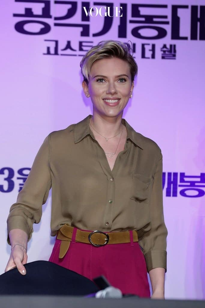 """SEOUL, SOUTH KOREA - MARCH 17:  Scarlett Johansson attends the official press conference ahead of the Seoul Premiere of the Paramount Pictures release """"Ghost In The Shell"""" at the Grand Intercontinental Hotel on March 17, 2017 in Seoul, South Korea.  (Photo by Han Myung-Gu/Getty Images for Paramount Pictures)"""