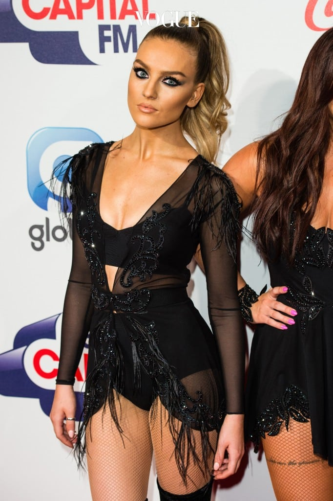 LONDON, ENGLAND - DECEMBER 06:  Perrie Edwards from Little Mix attends the Jingle Bell Ball at The O2 Arena on December 6, 2015 in London, England.  (Photo by Jeff Spicer/Getty Images)