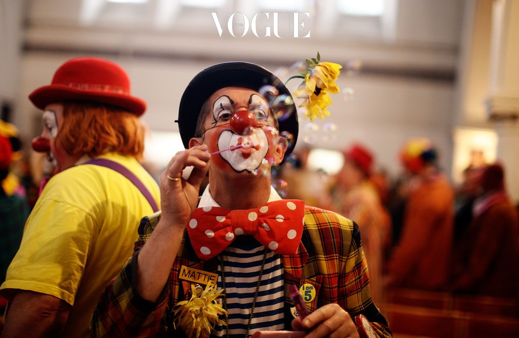LONDON, ENGLAND - FEBRUARY 06:  A clowns blows bubbles while attending the Joseph Grimaldi memorial service at the Holy Trinity Church in Dalston on February 6, 2011 in London, England. The ceremony has been held since 1946 in honour of Joseph Grimaldi, the most celebrated English clown (1778-1837).  (Photo by Matthew Lloyd/Getty Images)