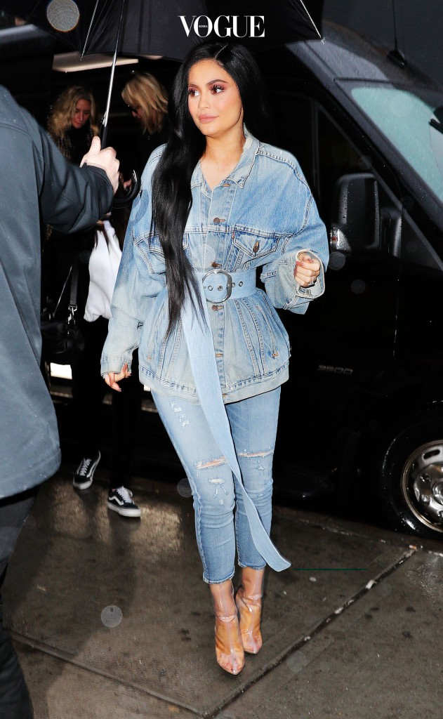 Kylie Jenner spotted out in double denim in New York City, New York.  Pictured: Kylie Jenner Ref: SPL1441011  120217   Picture by: Jackson Lee / Splash News Splash News and Pictures Los Angeles:310-821-2666 New York: 212-619-2666 London:870-934-2666 photodesk@splashnews.com