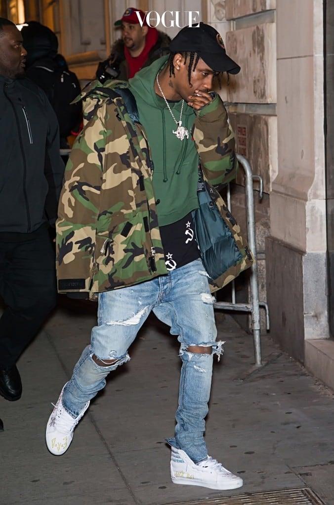 Celebrities arrive at FENTY x PUMA by Rihanna fashion show at 23 Wall Street in New York Pictured: Travis Scott Ref: SPL1226617  120216   Picture by: Ouzounova/Splash News Splash News and Pictures Los Angeles:310-821-2666 New York:212-619-2666 London:870-934-2666 photodesk@splashnews.com