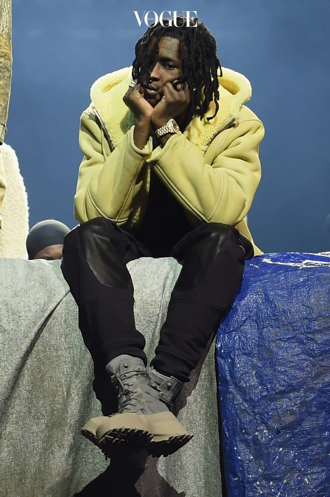 NEW YORK, NY - FEBRUARY 11:  Rapper Young Thug poses during Kanye West Yeezy Season 3 on February 11, 2016 in New York City.  (Photo by Dimitrios Kambouris/Getty Images for Yeezy Season 3)