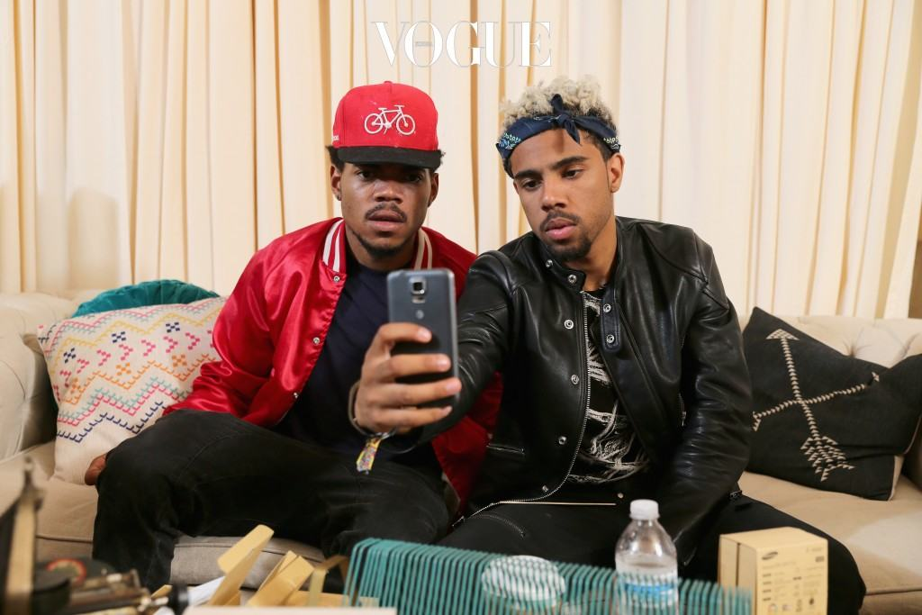 CHICAGO, IL - AUGUST 03:  Chance The Rapper (L) and Vic Mensa at the Samsung Galaxy Artist Lounge at Lollapalooza at Grant Park on August 3, 2014 in Chicago, Illinois.  (Photo by Neilson Barnard/Getty Images for Samsung Galaxy)