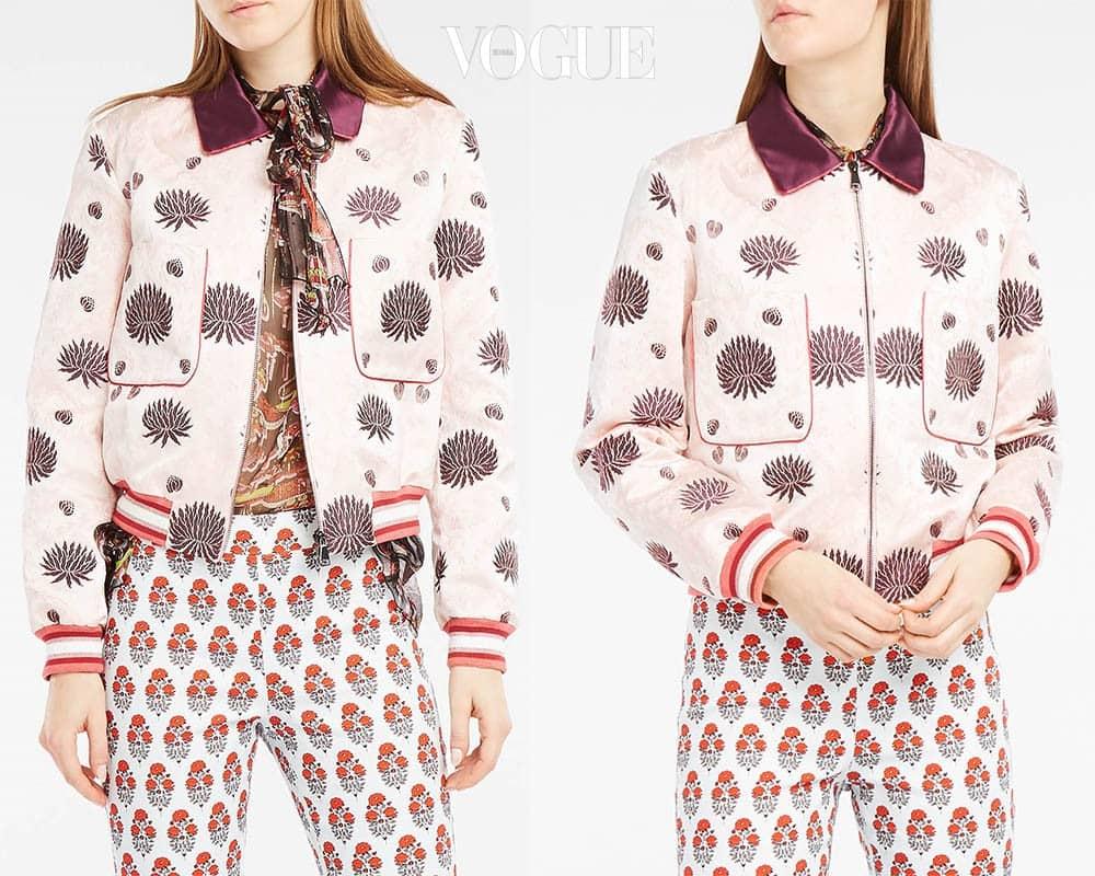 로즈 핑크 컬러의 새틴 보머 재킷. 국화꽃이 자수 장식돼 있다. 쿨하면서도 '여자여자'한 브로케이드 보머 재킷. 부티크1(boutique1.com).