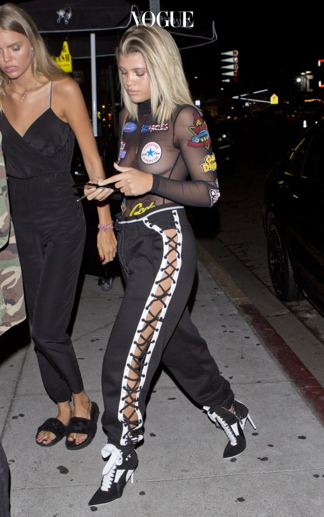 EXCLUSIVE: Sofia Richie goes Braless in a sheer top and designer pants as she arrives at 'The Nice Guy' bar in West Hollywood, CA Pictured: Sofia Richie Ref: SPL1366247  021016   EXCLUSIVE Picture by: SPW / Splash News Splash News and Pictures Los Angeles:310-821-2666 New York:212-619-2666 London:870-934-2666 photodesk@splashnews.com