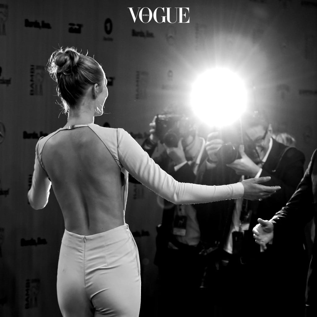BERLIN, GERMANY - NOVEMBER 12:  (EDITORS NOTE: This image was converted into black and white) Toni Garrn poses for photographers at the Bambi Awards 2015 at Stage Theater on November 12, 2015 in Berlin, Germany. (Photo Alexander Koerner/Getty Images for Aigner)