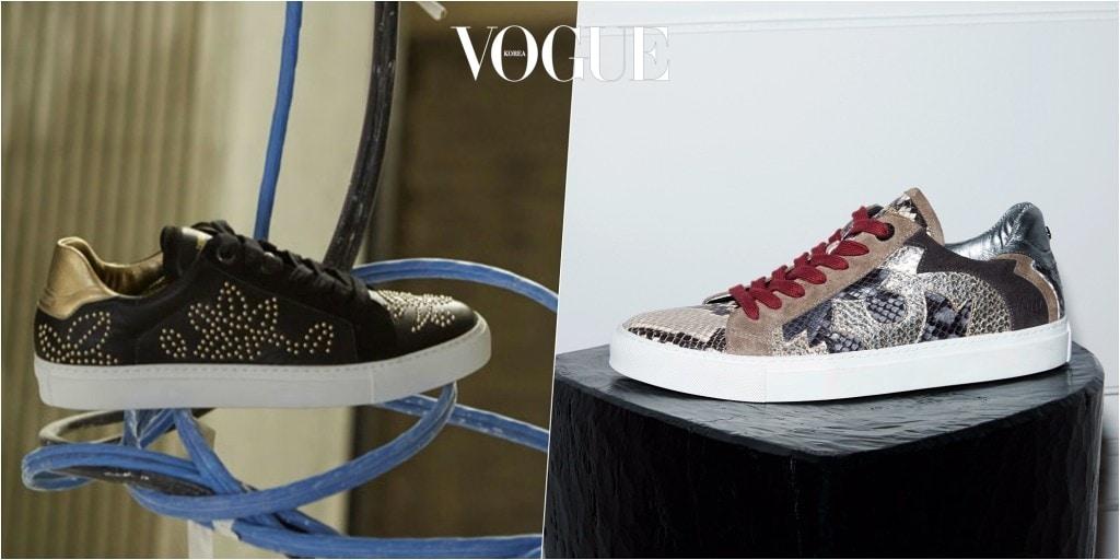 시즌 컨셉에 따라 다양한 디자인을 덧입고 있는 'ZV1747'의 이번 시즌 특징은? 신발 뒷부분의 스컬 포인트와 스터드 장식, 그리고 스네이크 가죽으로 완성한 스포티하고 섹시한 이미지입니다.