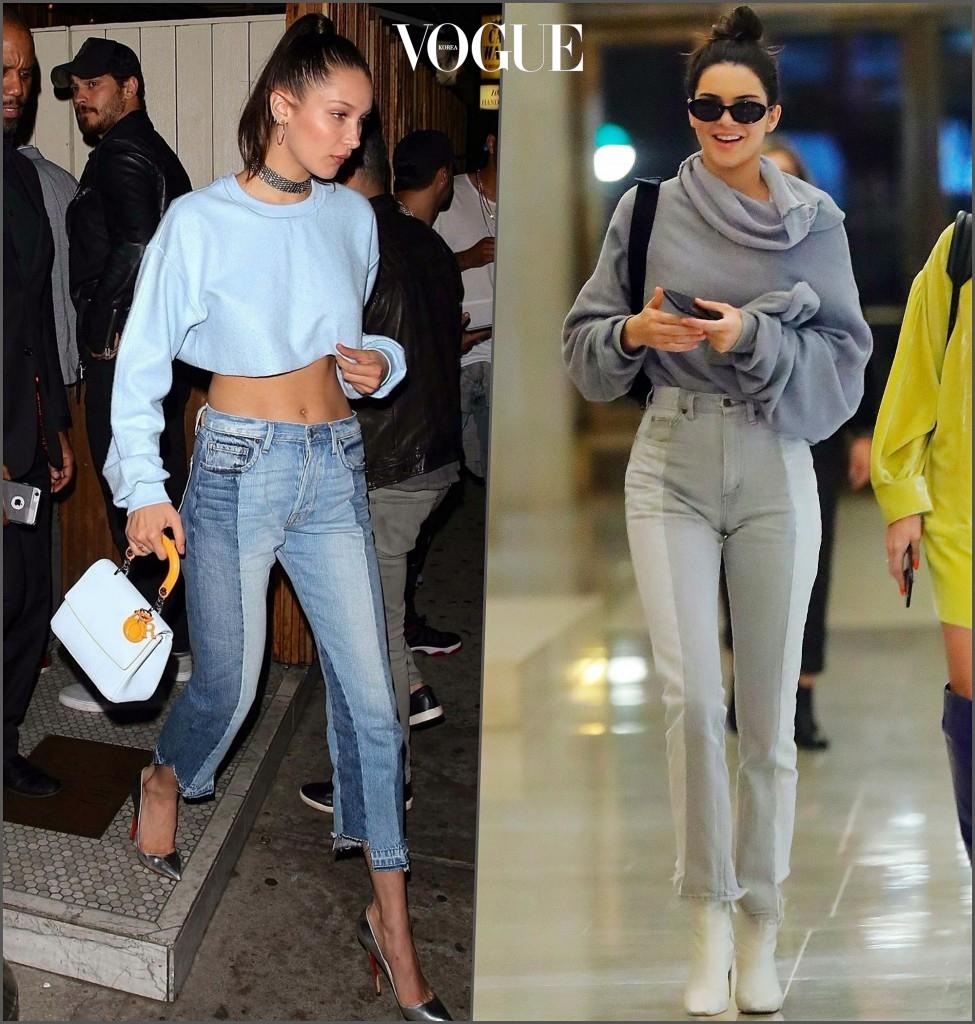 투톤 패치워크 데님 팬츠 벨라 하디드 Bella Hadid / 켄달 제너 Kendall Jenner