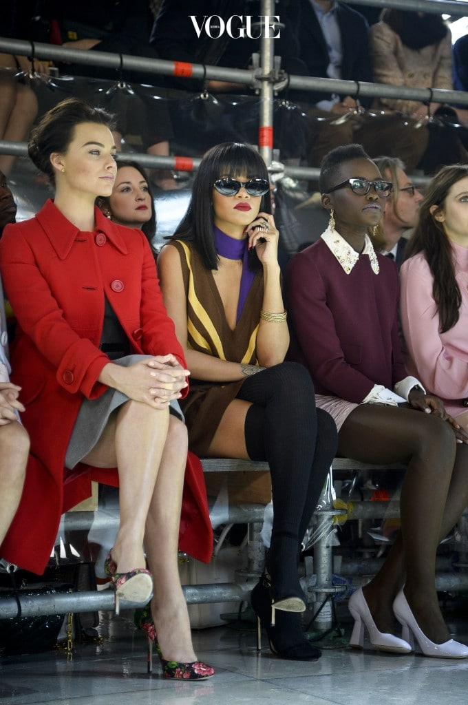 PARIS, FRANCE - MARCH 05:  Actress Margot Robbie, Rihanna and actress Lupita Nyong'o attend the Miu Miu show as part of the Paris Fashion Week Womenswear Fall/Winter 2014-2015 on March 5, 2014 in Paris, France.  (Photo by Pascal Le Segretain/Getty Images)