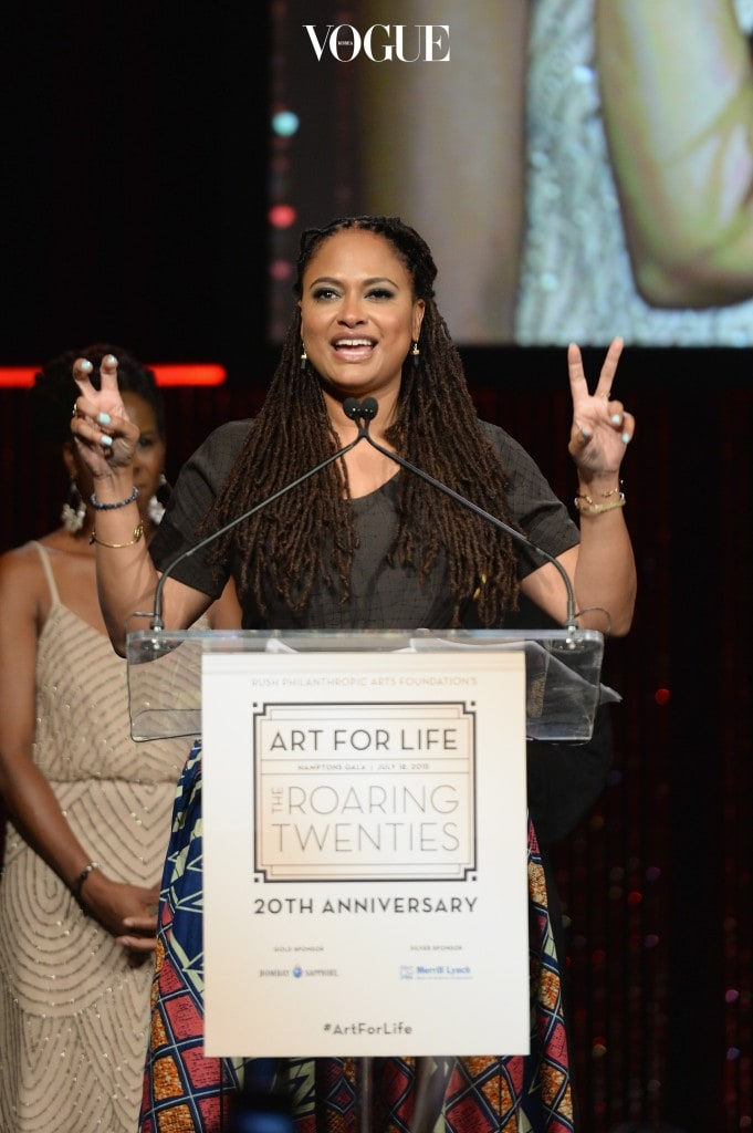 WATER MILL, NY - JULY 18:  Ava DuVernay speaks on stage at Russell Simmons' Rush Philanthropic Arts Foundation Celebrates 20th Anniversary At Annual Art For Life Benefit at Fairview Farms on July 18, 2015 in Water Mill, New York.  (Photo by Andrew Toth/Getty Images for Rush Philanthropic Arts Foundation)