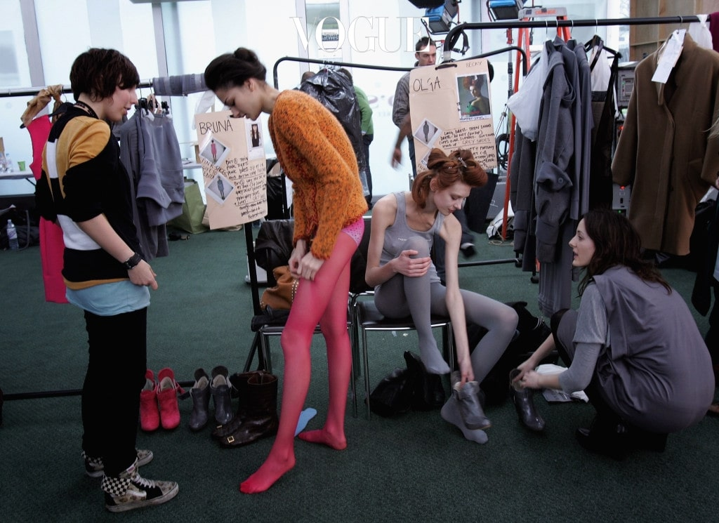 LONDON - FEBRUARY 14:  Models are prepared backstage before the Preen fashion show during Autumn/ Winter 2007 London fashion week at Lord's Cricket ground on February 14, 2007 in London, England.  (Photo by Chris Jackson/Getty Images)