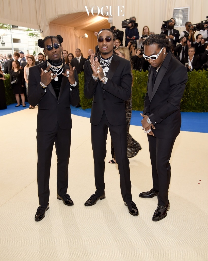 """NEW YORK, NY - MAY 01:  Offset, Quavo and Takeoff of Migos attend the """"Rei Kawakubo/Comme des Garcons: Art Of The In-Between"""" Costume Institute Gala at Metropolitan Museum of Art on May 1, 2017 in New York City.  (Photo by Dimitrios Kambouris/Getty Images)"""