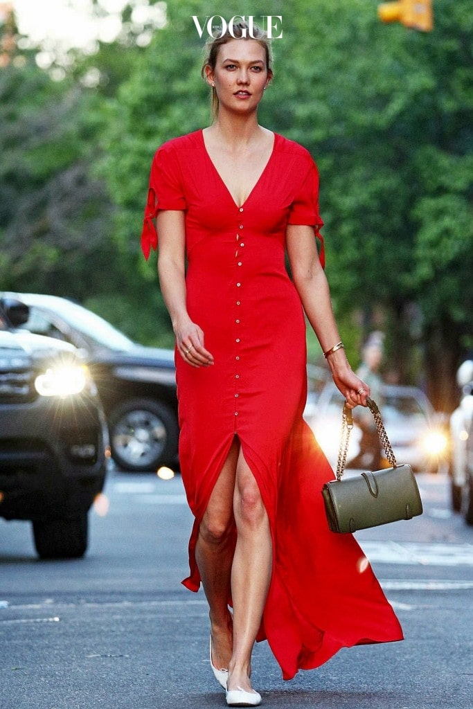 칼리 클로스 Karlie kloss 익스프레스(Express) 레드 맥시 드레스