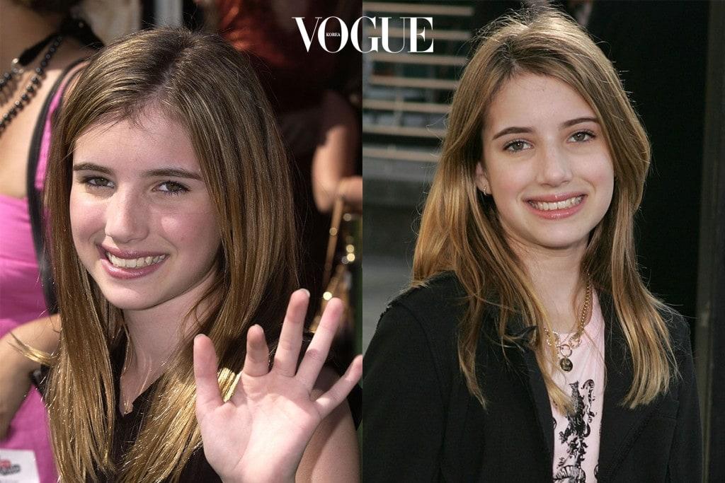 2004년 5월 1일 & 2004년 12월 12일 13세의 나이로 레드카펫에 오른 엠마! 더티 블론드가 그녀의 자연 컬러.
